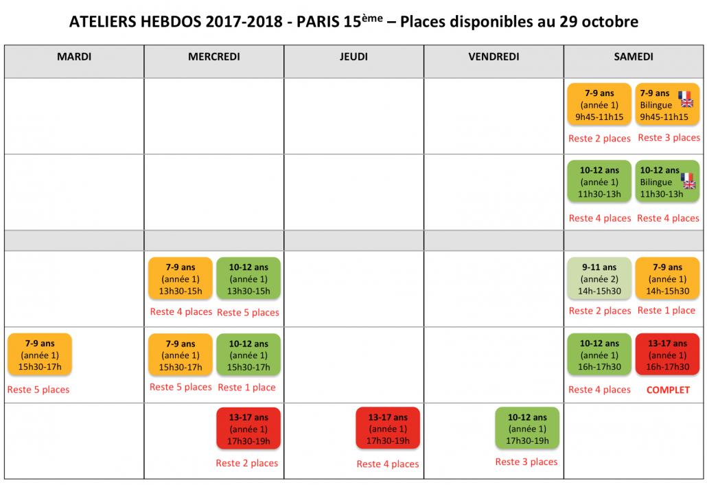 Tech Kids Academy Ateliers hebdos Paris 15 Octobre 2017