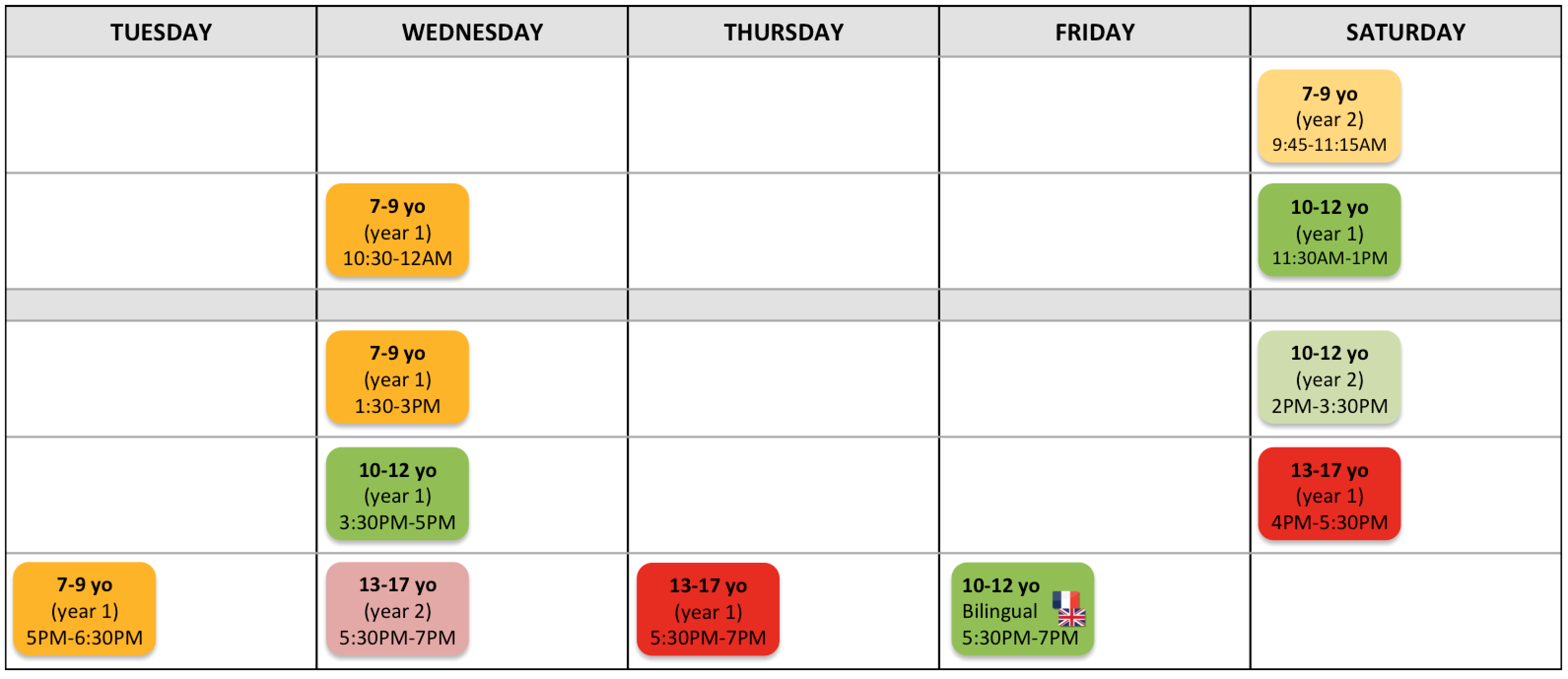 Tech Kids - English schedule - St Germain