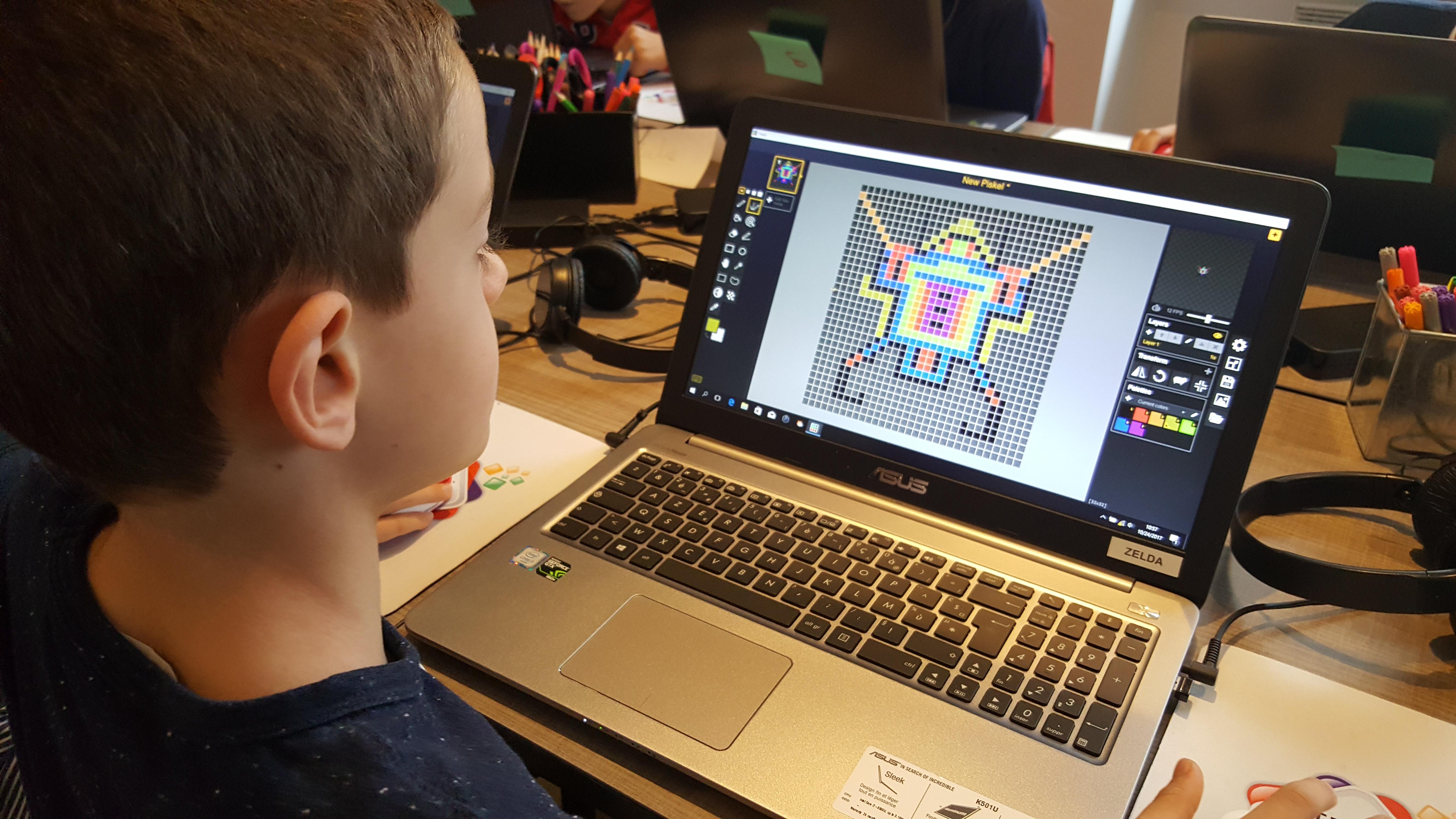 Ateliers hebdos 7-9 ans - Pixel art