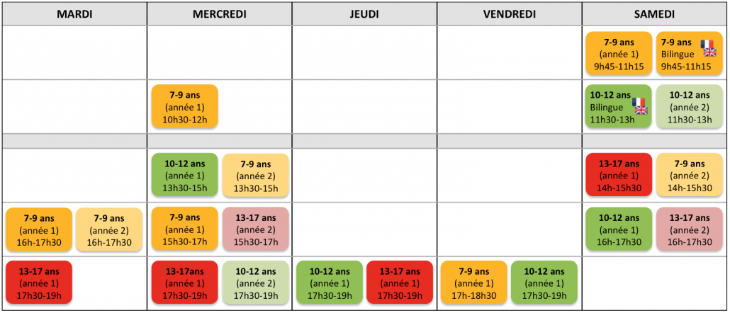 Tech Kids Academy - Calendrier ateliers hebdos 2018-2019 Paris 15