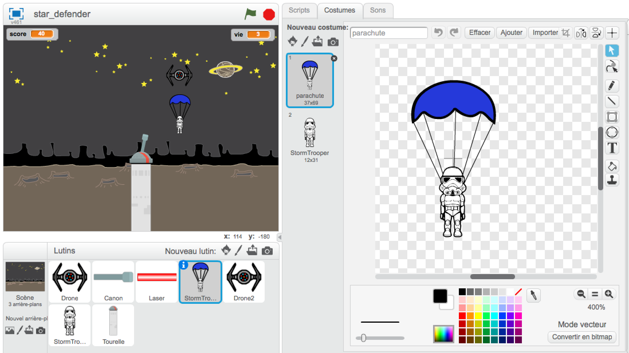 Scratch jeu Paratroopers interface dessin