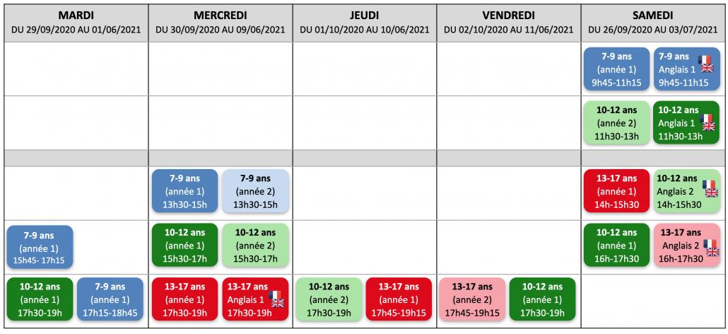 Calendrier des ateliers hebdos 2020-2021 Paris 15ème