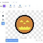 Dessin pixel art citrouille